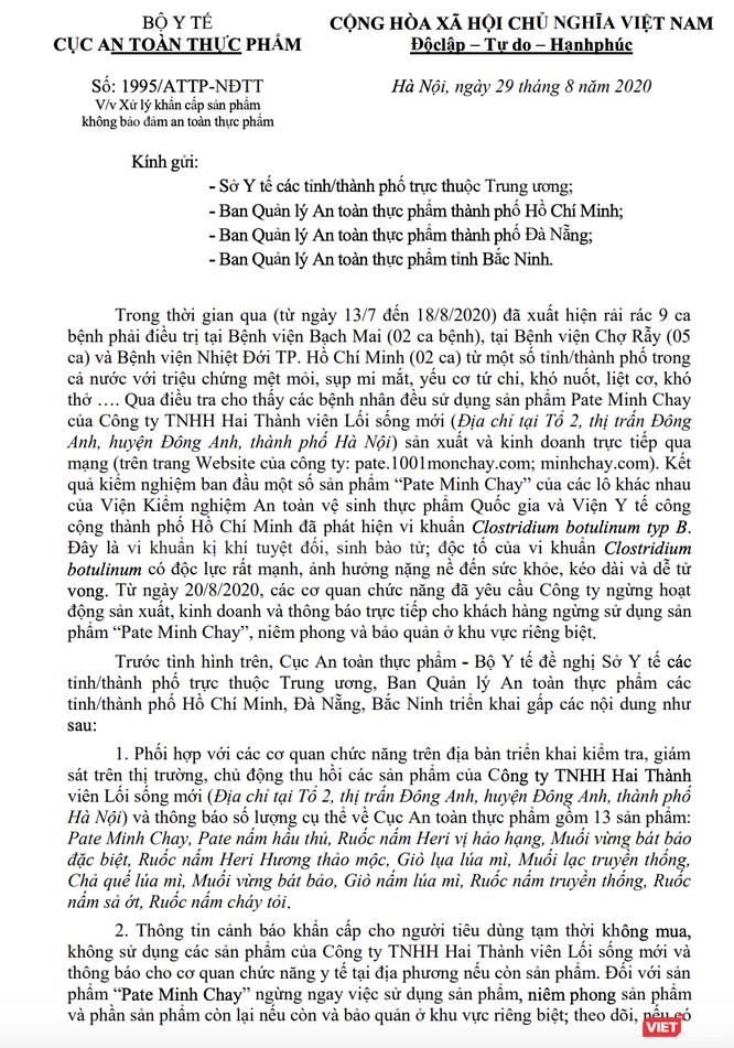 Vì sao 9 ngày sau khi công ty dừng sản xuất, Cục An toàn thực phẩm mới công bố pate Minh Chay có độc ảnh 1