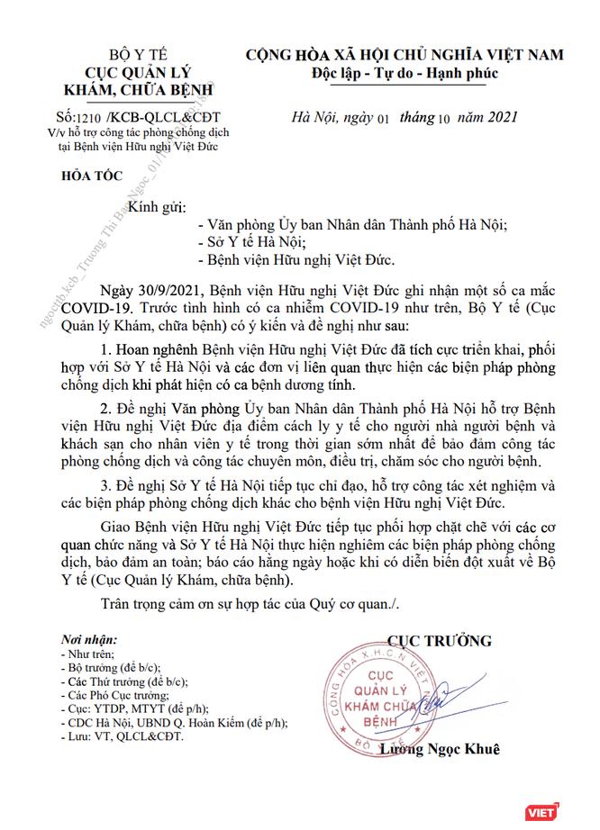 Phát hiện các ca nhiễm COVID-19 ở BV Việt Đức: Bộ Y tế đề nghị UBND TP. Hà Nội hỗ trợ BV ảnh 1