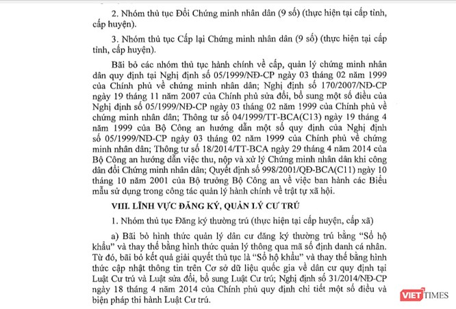 Một phần Nghị quyết 112/NQ-CP của Chính phủ. Ảnh: VietTimes