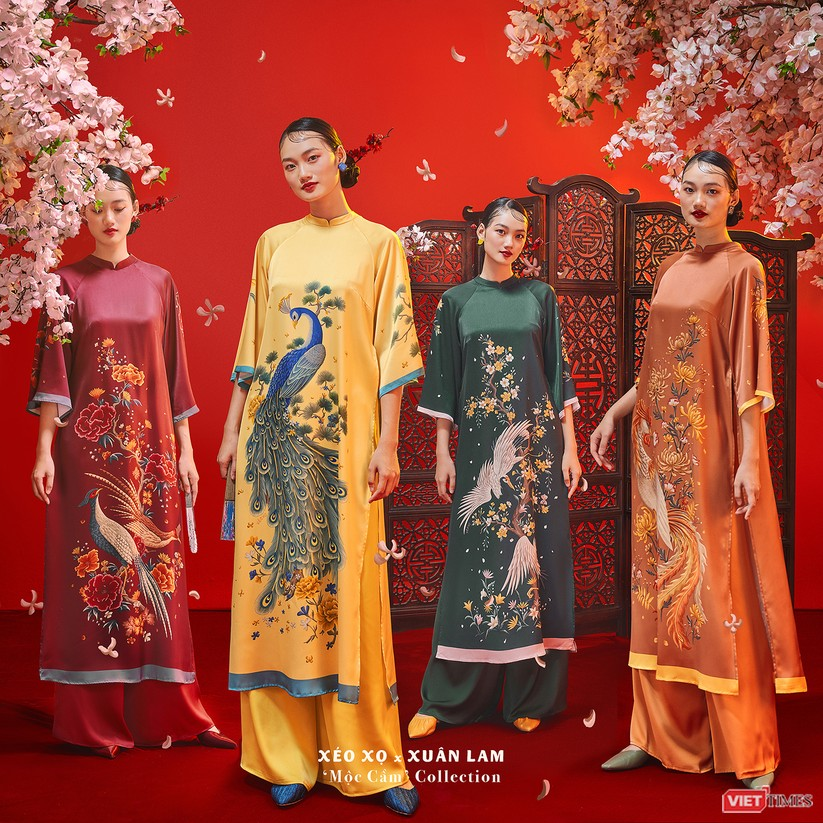 Tranh Tứ Bình được họa sĩ Xuân Lam sáng tạo trên áo dài xuân