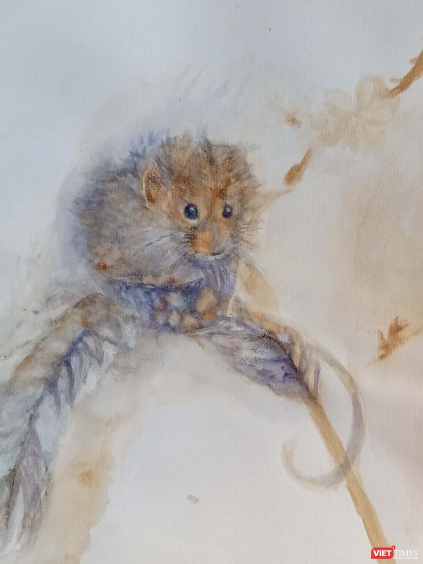Độc đáo tranh chuột đón Tết Canh Tý vẽ bằng màu hoa, tương ớt, cà phê ảnh 2