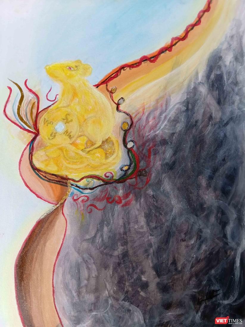 Độc đáo tranh chuột đón Tết Canh Tý vẽ bằng màu hoa, tương ớt, cà phê ảnh 4