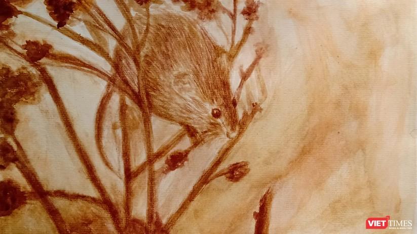 Độc đáo tranh chuột đón Tết Canh Tý vẽ bằng màu hoa, tương ớt, cà phê ảnh 5