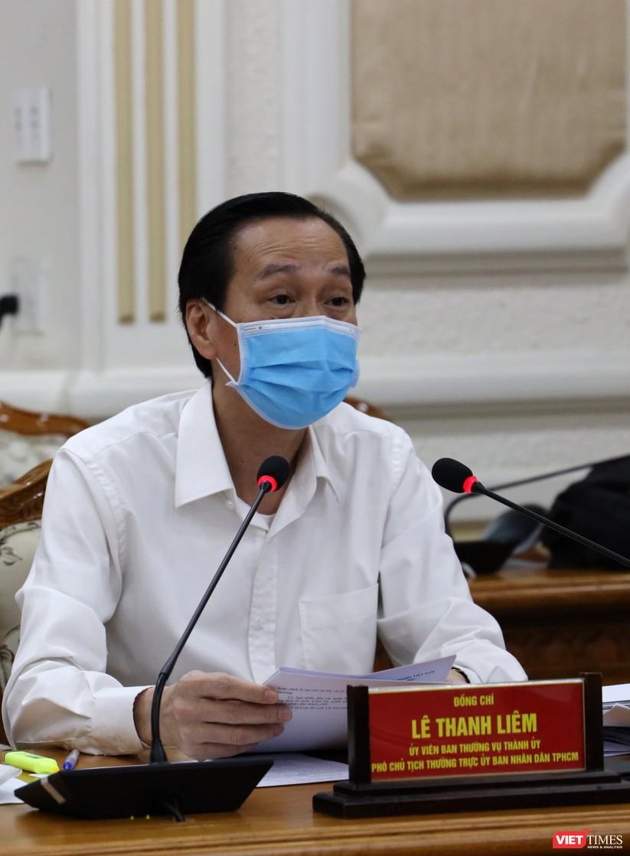 Phó Chủ tịch thường trực UBND TP.HCM Lê Thanh Liêm tại cuộc họp Ban chỉ đạo phòng, chống COVID-19 TP.HCM (Ảnh: TTBC)