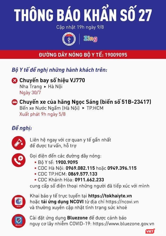 Thông báo khẩn số 27 (Nguồn: Bộ Y tế)
