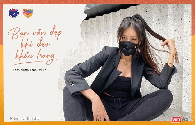 Fahionista Thảo Nhi Lê và nhiều người nổi tiếng cùng tham gia chiến dịch kêu gọi cộng đồng đeo khẩu trang (Ảnh: Bộ Y tế)