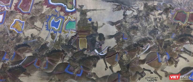 Khởi Nghĩa, Màu nước trên lụa, 77x180 cm, Trọng Nội