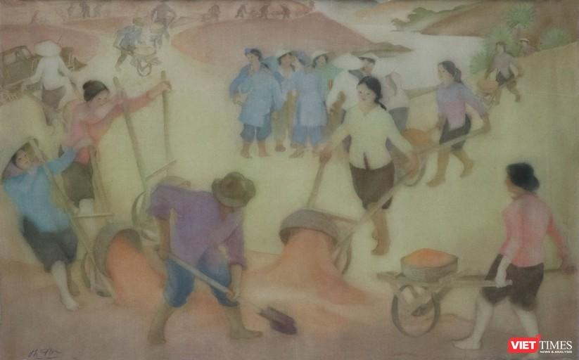 Thu hoạch, màu nước trên lụa, 45 x 72 cm, Thục Phi