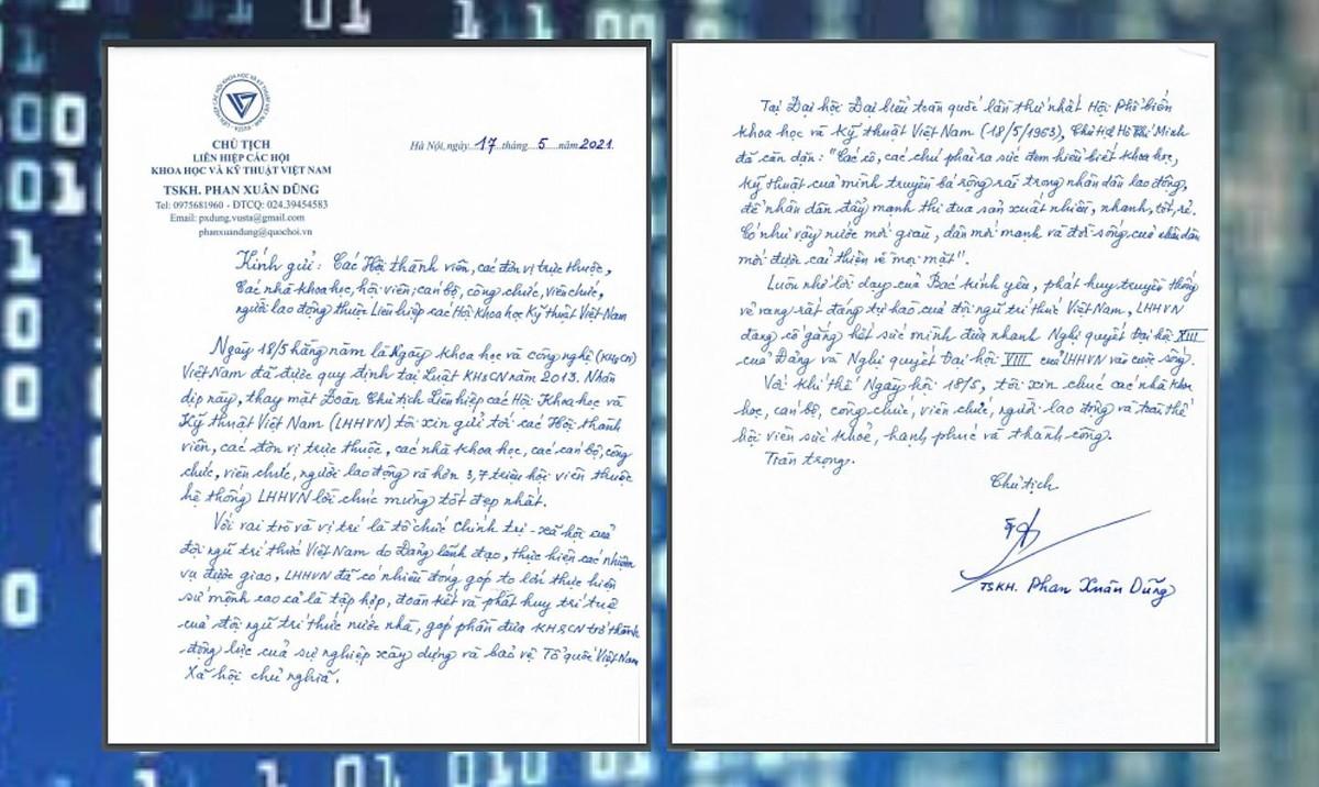 Chủ tịch VUSTA Phan Xuân Dũng gửi thư chúc mừng Ngày Khoa học và Công nghệ Việt Nam ảnh 1