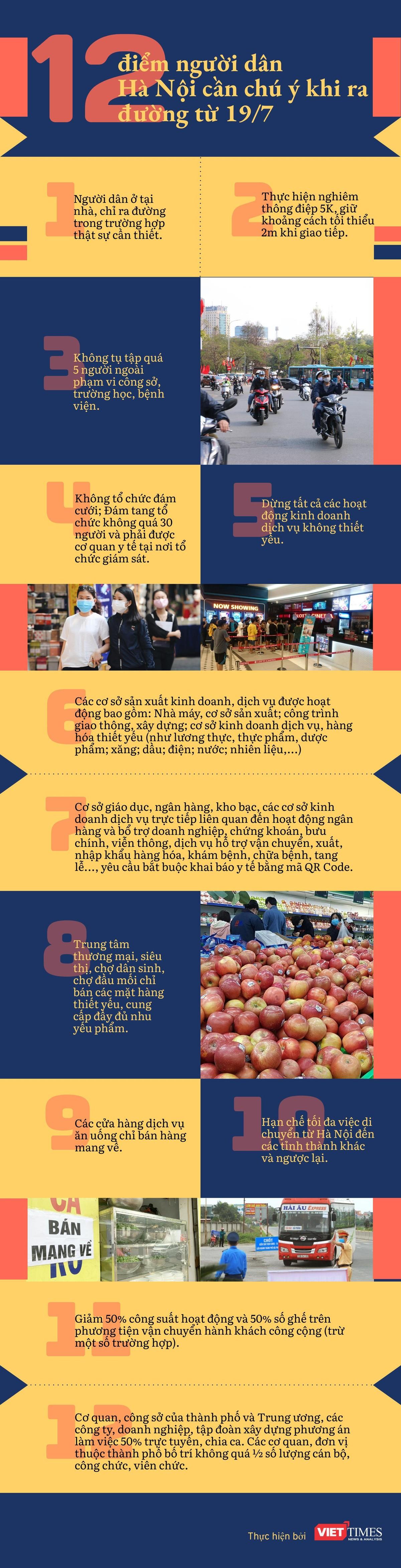 12 điểm người dân Hà Nội cần lưu ý khi ra đường từ 19/7 (Infographic) ảnh 1