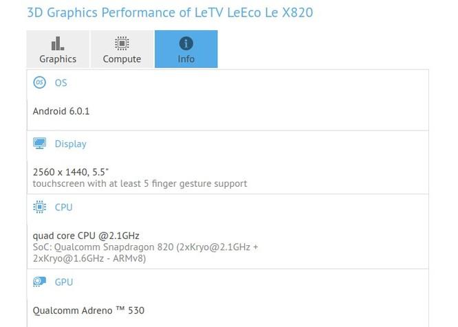 LeEco Le 2 xuất hiện trang bị 6GB RAM ảnh 1