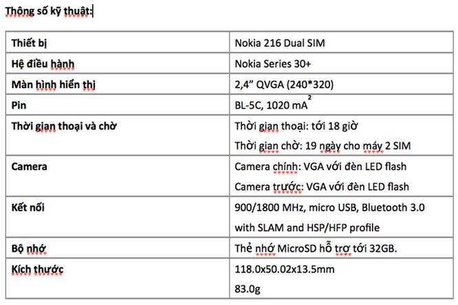 Nokia 216 kèm MicroSD 8GB lên kệ Việt giá 820 nghìn ảnh 2