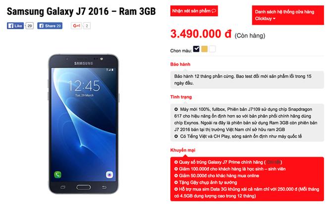 Galaxy J7 2016 xách tay full-HD, RAM 3GB, giá 3.5 triệu ảnh 2