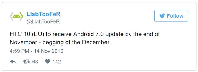 HTC 10 sắp được lên đời Android 7.0 Nougat ảnh 1