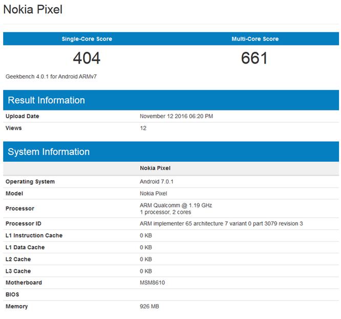 Nokia Pixel chạy Android 7.0 hé lộ cấu hình thấp ảnh 1