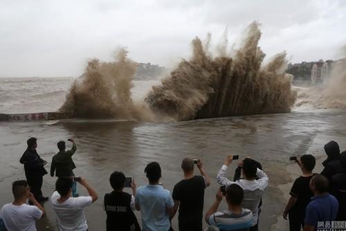 Bất chấp nguy hiểm, du khách thi nhau chụp hình siêu bão ảnh 4