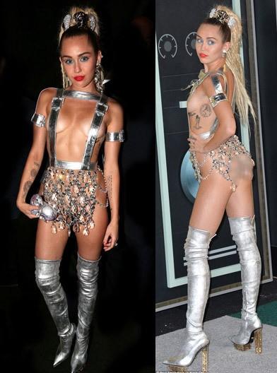 Miley Cyrus gây sốc với bộ đồ và những hành động