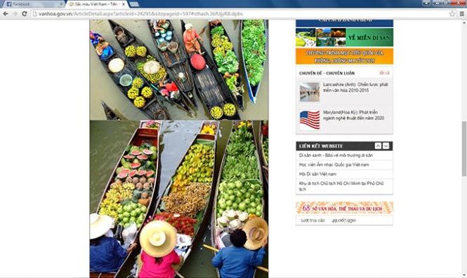 Hình ảnh chợ nổi của Thái Lan được dùng để minh họa cho chợ nổi Cái Bè trên trang web của Bộ VH-TT&DL