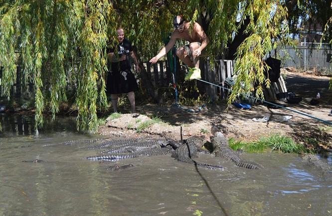 Đứng tim với màn biểu diễn trên dây thép vờn cá sấu ảnh 2