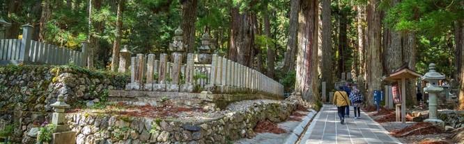 Một trong những điểm nổi bật của ngôi làng là Okunoin, nghĩa trang lớn nhất và linh thiêng nhất Nhật Bản.