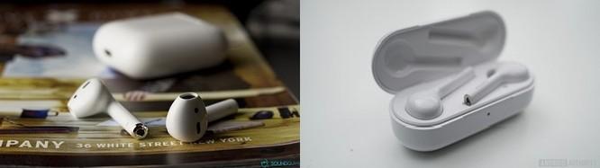 AirPods (trái) và FreeBuds (phải)