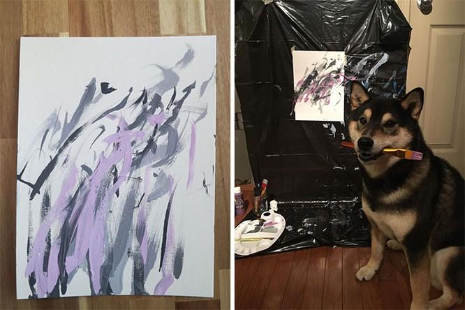Chú chó Shiba Inu được chủ dạy vẽ tranh, kiếm tới 5000 USD từ tranh vẽ ảnh 13