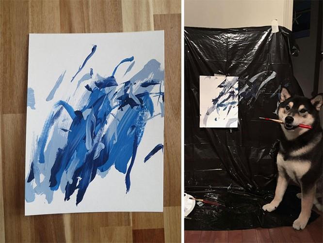 Chú chó Shiba Inu được chủ dạy vẽ tranh, kiếm tới 5000 USD từ tranh vẽ ảnh 7