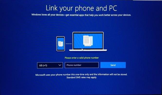 Microsoft yêu cầu số điện thoại để cài đặt Windows 10 Build 17063 ảnh 1