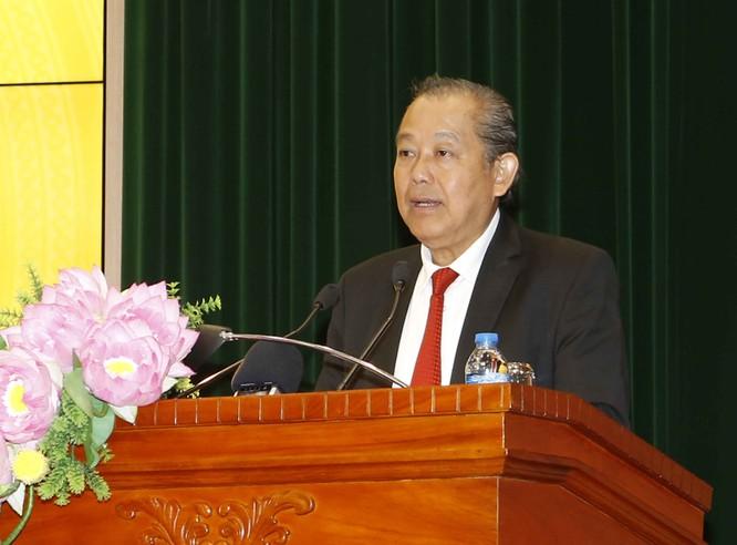 Phó Thủ tướng Trương Hòa Bình phát biểu tại buổi gặp mặt đầu Xuân (Ảnh: VGP/Lê Sơn)