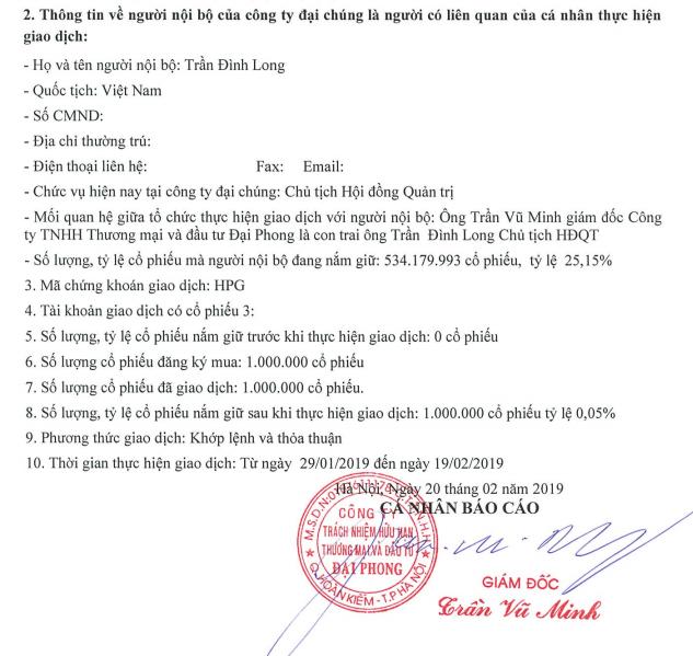 Công ty của con trai ông Trần Đình Long đã gom đủ 1 triệu cổ phiếu HPG ảnh 1