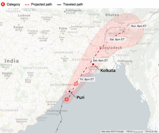 Siêu bão Fani đổ bộ và Ấn Độ, ít nhất 2 người thiệt mạng ảnh 1