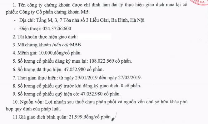 """""""Giá vốn"""" lô cổ phiếu quỹ mà MBBank muốn bán cho nhà đầu tư ngoại ảnh 1"""