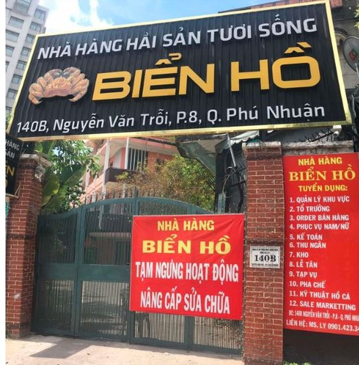 Nhà hàng Biển Hồ tại số 140B Nguyễn Văn Trỗi, Quận Phú Nhuận, Tp. HCM (Ảnh: P.D)