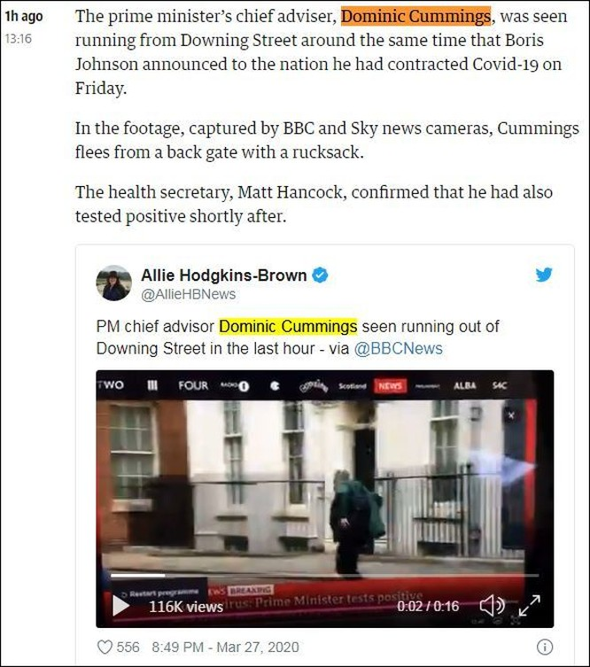 Video cố vấn Thủ tướng Anh Boris Johnson bỏ chạy sau khi nghe tin sếp bị COVID-19 gây bão mạng ảnh 3