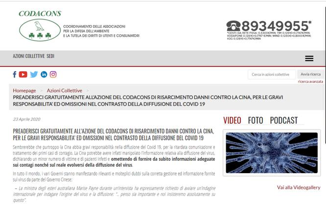 Italy: một số địa phương và tổ chức khởi kiện đòi Trung Quốc bồi thường ảnh 2