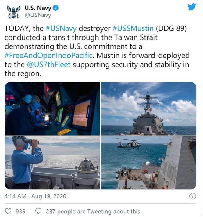 Quân đội Mỹ công bố bản đồ và ảnh tàu Mustin vượt qua đường trung tâm đi xuyên eo biển Đài Loan ảnh 1