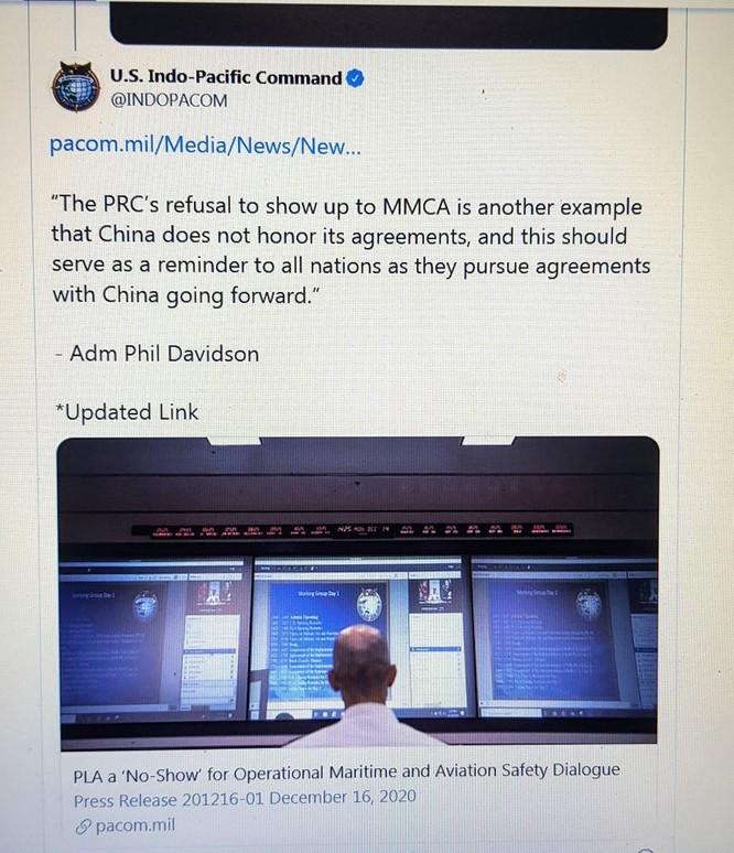Mỹ chỉ trích PLA tự ý bỏ không tham dự hội nghị trực tuyến MMCA, Trung Quốc nói trách nhiệm do Mỹ ảnh 1