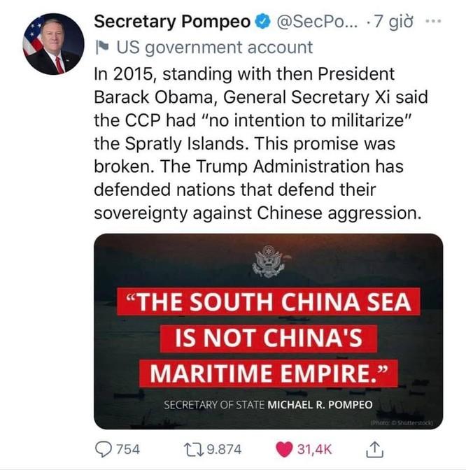 Ngoại trưởng Mỹ Pompeo đăng 40 đoạn tweet công kích Trung Quốc, Bắc Kinh phản ứng quyết liệt ảnh 1