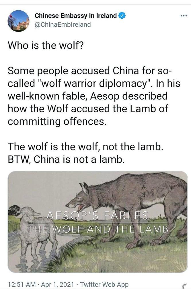"""Rúng động đoạn tweet khó hiểu về """"Chiến lang"""" của sứ quán Trung Quốc ở Ireland ảnh 1"""
