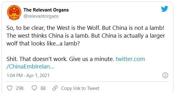 """Rúng động đoạn tweet khó hiểu về """"Chiến lang"""" của sứ quán Trung Quốc ở Ireland ảnh 2"""
