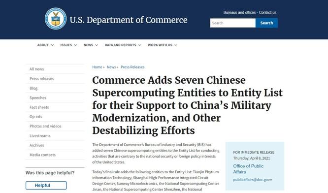 Bộ Thương mại Mỹ trừng phạt 7 công ty siêu máy tính Trung Quốc vì giúp PLA hiện đại hóa quân đội ảnh 1