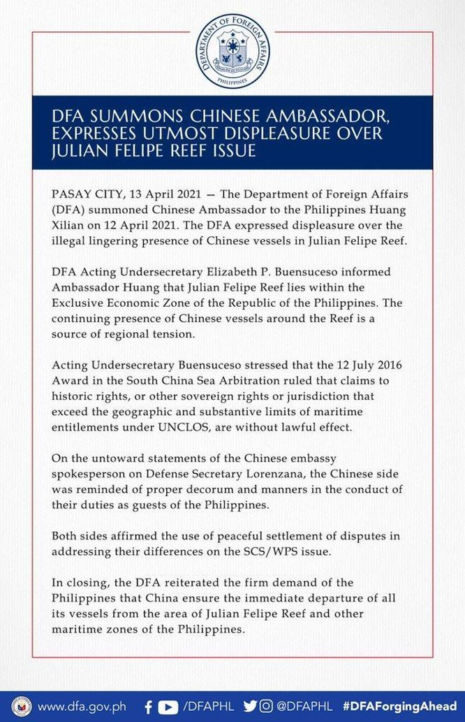 """Thứ trưởng Ngoại giao Philippines triệu tập Đại sứ Trung Quốc tới bày tỏ """"cực kì bất bình"""" ảnh 1"""