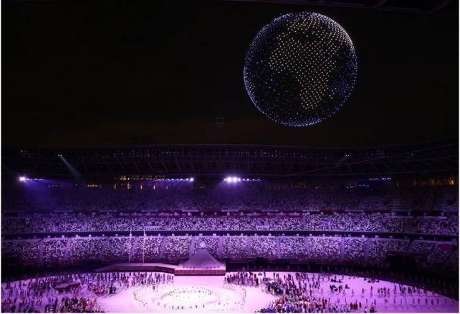 Màn trình diễn tuyệt vời của 1.824 máy bay không người lái tại Lễ khai mạc Olympic Tokyo 2020 ảnh 2