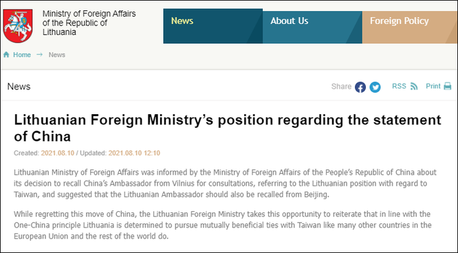 Quan hệ Trung Quốc – Litva căng thẳng, Trung Quốc rút đại sứ về nước ảnh 2