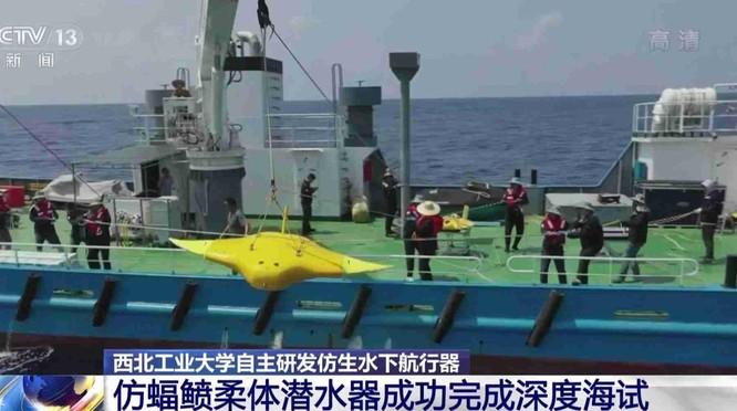Trung Quốc khoe thử nghiệm thành công tàu lặn không người lái mô phỏng cá đuối ảnh 3