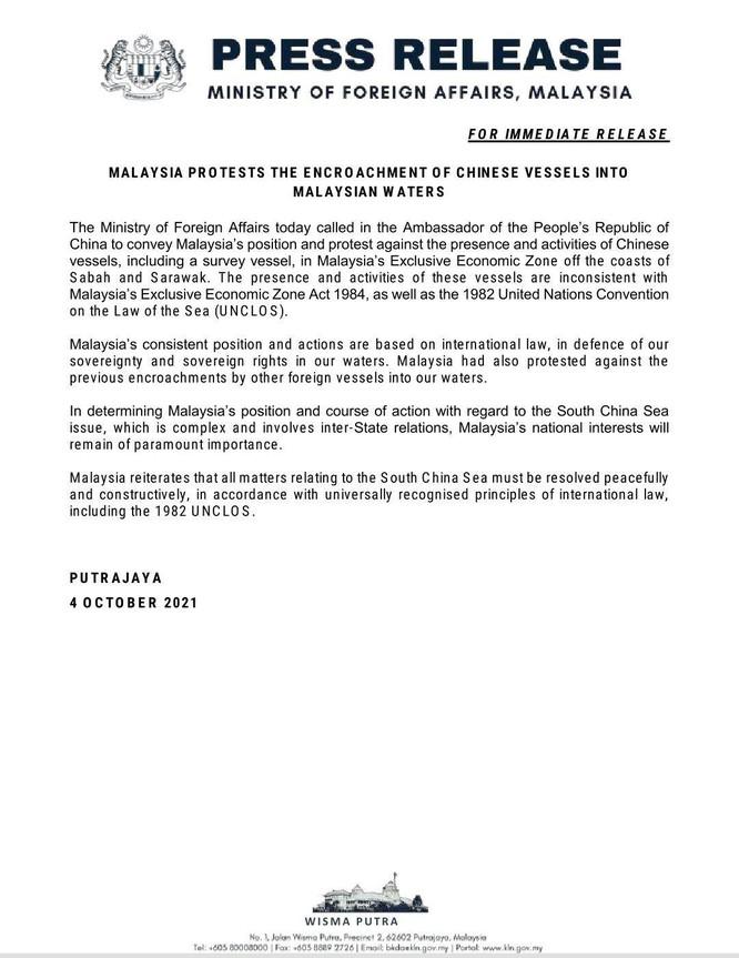 Bộ Ngoại giao Malaysia triệu Đại sứ Trung Quốc tới phản đối cho tàu xâm phạm vùng đặc quyền kinh tế ảnh 2