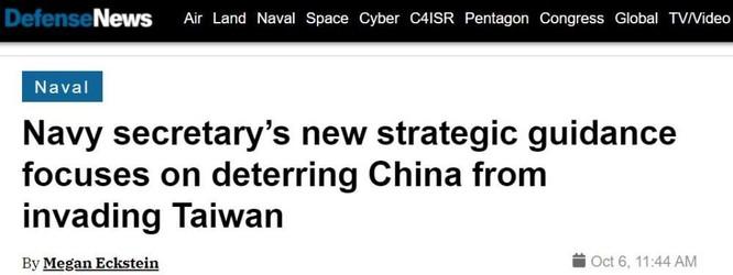 """Bộ trưởng Hải quân Mỹ: Chức trách của chúng ta bao gồm ngăn chặn Trung Quốc """"giải phóng Đài Loan"""" ảnh 2"""