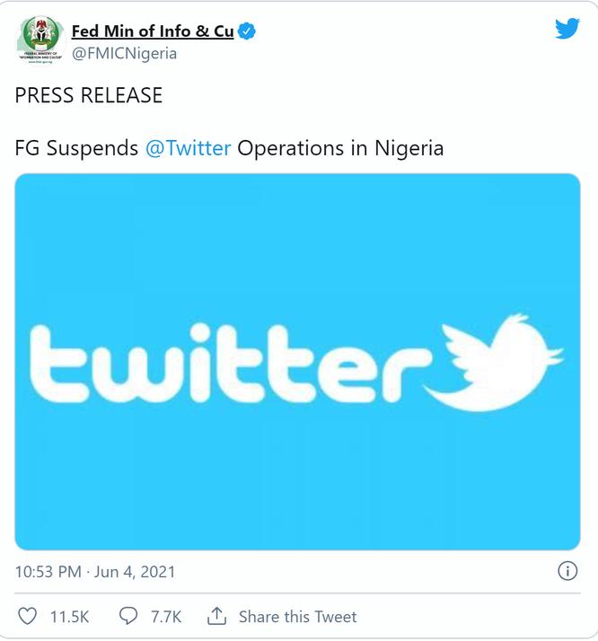 """Nigeria """"cấm cửa"""" Twitter sau khi tweet của Tổng thống bị xóa ảnh 1"""