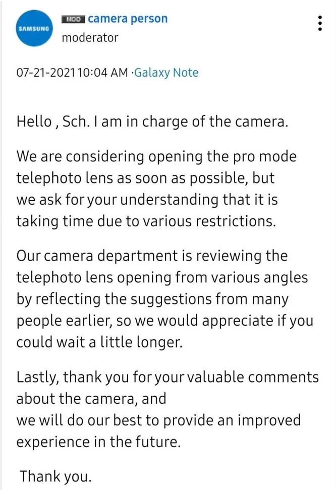 Các mẫu Flagship của Samsung sẽ sớm nhận được tính năng chụp ảnh chuyên nghiệp trên camera tele ảnh 1