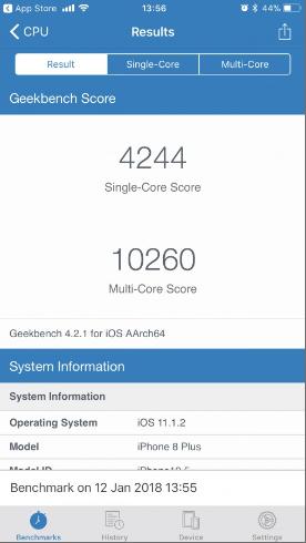 Điểm Geekbench của iPhone 8 trên phiên bản iOS 11.1.2. Nguồn: GSMArena
